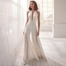 Halter Sleeveless Backless Split Lace White Jumpsuit Women's Casual Elegant  Jumpsuit Fashion Sexy Deep V-neck stylish sleeveless u neck backless gray sheathy jumpsuit for women