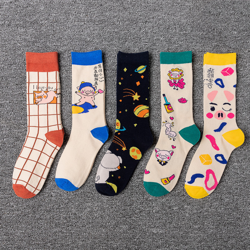 Ins Style Socks In Autumn And Winter Pig Cartoon Print Cotton Sox Breathable Cosy Funny Sock Unisex Street Hipster