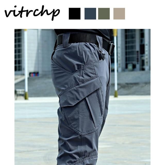 VITRCHP 2021 Mens Jogging Track Pant Multiple Pocket Elasticity Military Urban Commuter Tacitcal Trousers Slim Fat Cargo 2