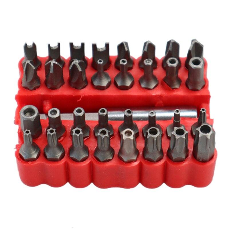 33 pçs conjunto de bits de segurança com extensão magnética titular de bits de chave de fenda estrela de adulteração conjunto de bits de liberação rápida titular