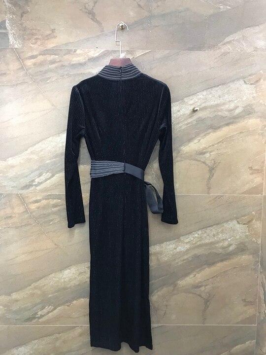 Otoño de 2019 de nueva ropa de mujer a rayas decorativos ronda corbata cintura longitud de la manga vestido de terciopelo de 1005 - 2