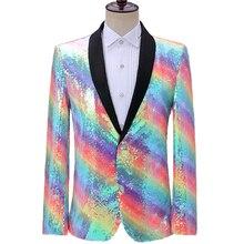 Suit Jackets Blazer Rainbow Sequin Wedding-Singer Mens Party Dress Costume Performance