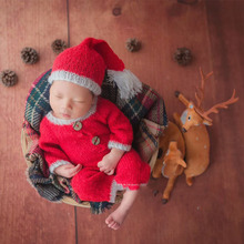 цена на Newborn Photography Props Hat  Christmas Outfit Cloth  Knitted Baby Romper Photo Studio Outfits Accessories