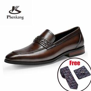 Image 1 - أحذية رجالي رسمية من phenkangأحذية أكسفورد من الجلد الطبيعي للرجال باللون الأسود 2020 أحذية للارتداء أحذية للزفاف أحذية جلدية من slipon