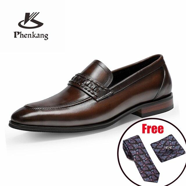 أحذية رجالي رسمية من phenkangأحذية أكسفورد من الجلد الطبيعي للرجال باللون الأسود 2020 أحذية للارتداء أحذية للزفاف أحذية جلدية من slipon