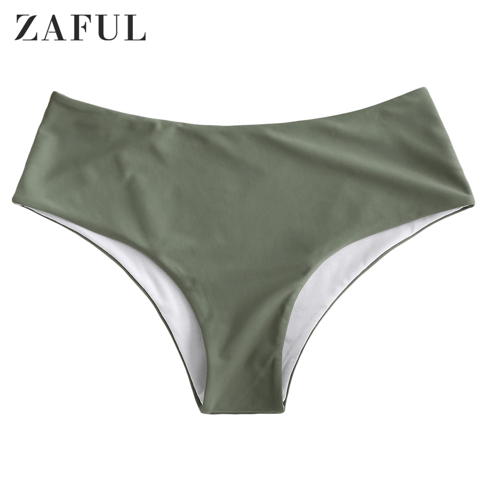 ZAFUL 2020 Solid Mid Rise Bikini Bottom Women Camouflage Green Bikini Briefs Ladies Middle Waist Beach Swim Briefs Basic Simple