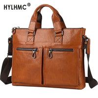 Luxury Genuine Leather 14 Men's Handbag Male Large Shoulder Messenger Bag Men Business Briefcase Document Laptop Bags Schoolbag
