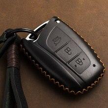 עור אמיתי רכב מפתח תיק Case כיסוי מחזיק מרחוק חכם מפתח עבור יונדאי סנטה Fe גרנד ix45 Centennial בראשית