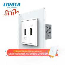 Livolo White Crystal Glass Panel, Two Gang USB Plug Socket / Wall Outlet VL C792U 11/12/13/15,4colors,no logo
