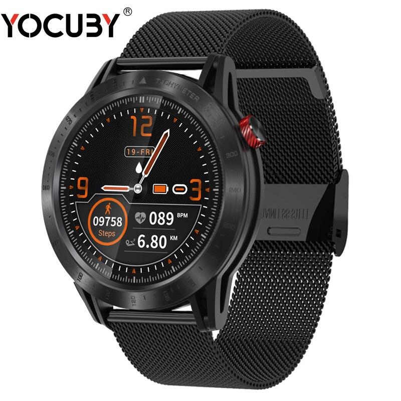 Croix Bluetooth montre intelligente pleine touche IP68 étanche fréquence cardiaque moniteur de sommeil SMS rappel Fitness acier inoxydable Smartwatch
