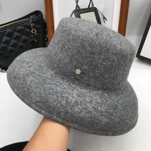 Herfst winter hoeden voor vrouwen vrouwelijke hoed brede rand voelde trilby retro Show kleiner gezicht emmer hoed