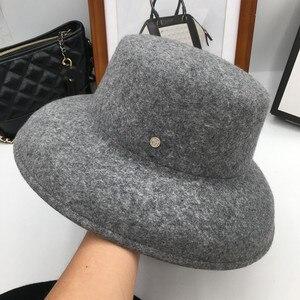 Image 1 - ฤดูใบไม้ร่วงฤดูหนาวหมวกสำหรับหมวกผู้หญิงหมวกกว้าง brim felt trilby retro แสดงขนาดเล็ก face หมวก