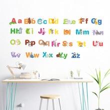 Cartoon Cute Animals 26 English Alphabet Wall Stickers For Kids Room Kindergarten Accessories PVC Mural Art Home DIY Decals