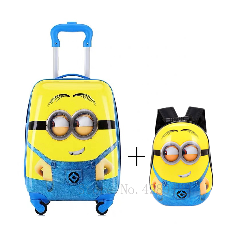 16''18 inch kids suitcase travel luggage carry on trolley luggage bag Cabin suitcase for child gift case Cartoon luggage set