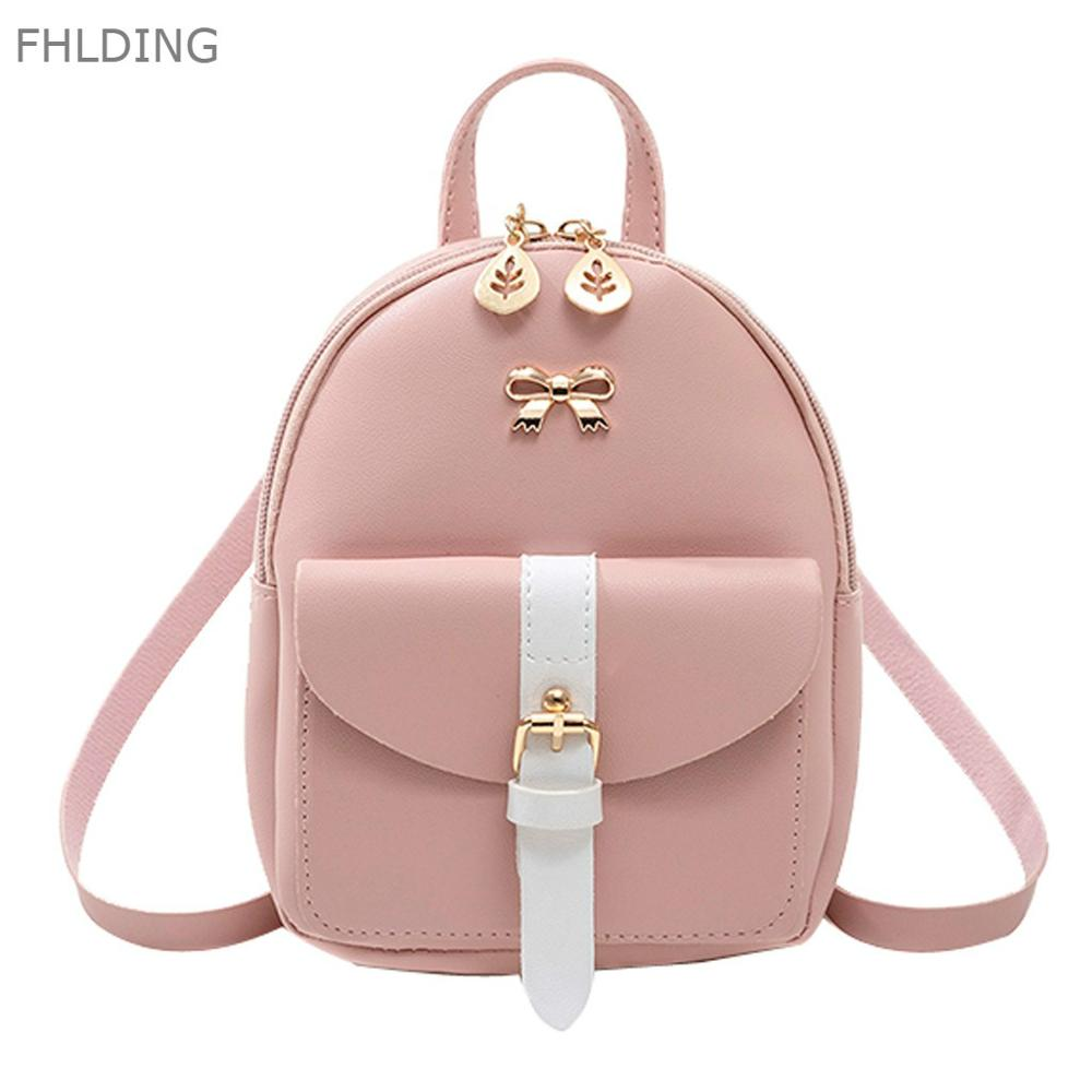 Hight Quality Women's Mini Backpack Luxury PU Leather Kawaii Backpack Cute Graceful Bagpack Small School Bags For Girls Bow-knot