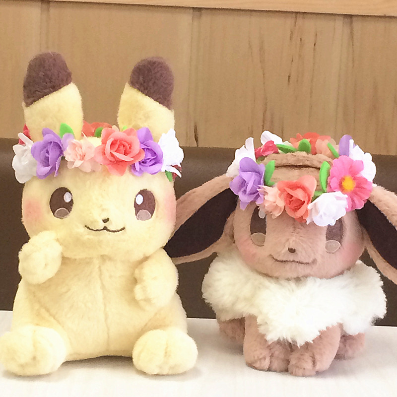 Hot Pikachu Eevee  Action Plush Toy Easter Wreath Bikachuib  Dolls High Quality Birthday Gifts For Children