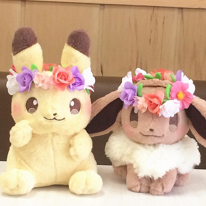Hot Pikachu Eevee  Action Plush Toy Easter Wreath Bikachuib  Dolls High Quality Birthday Gifts For Children