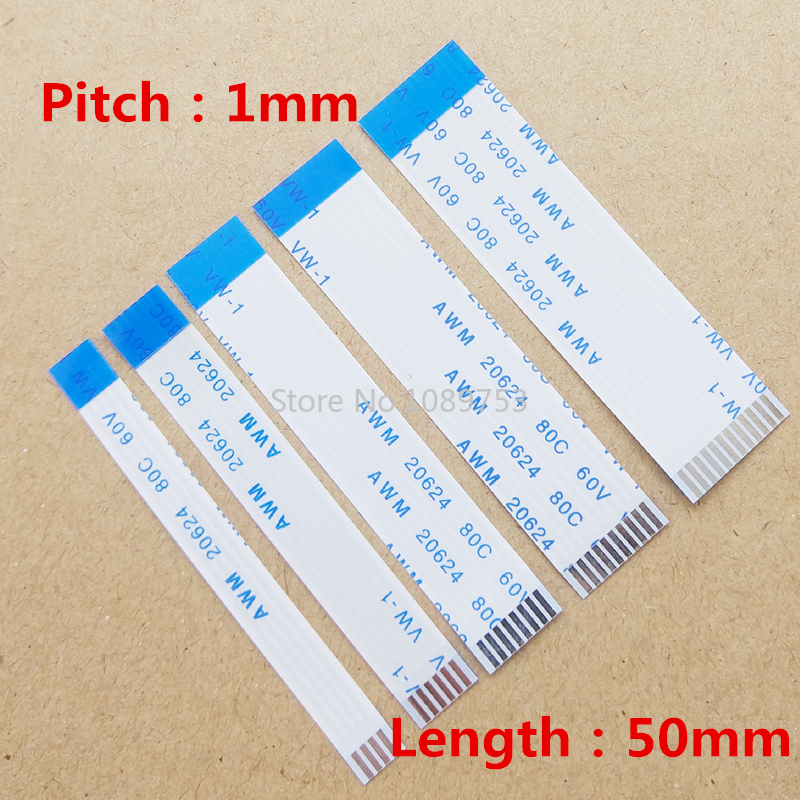 10PCS FPC/FFC Ribbon Flexible Flat Cable Pitch 1.0MM Reverse B Type Wire Length 5CM 4P/6/8/10/12/20/24/30pin
