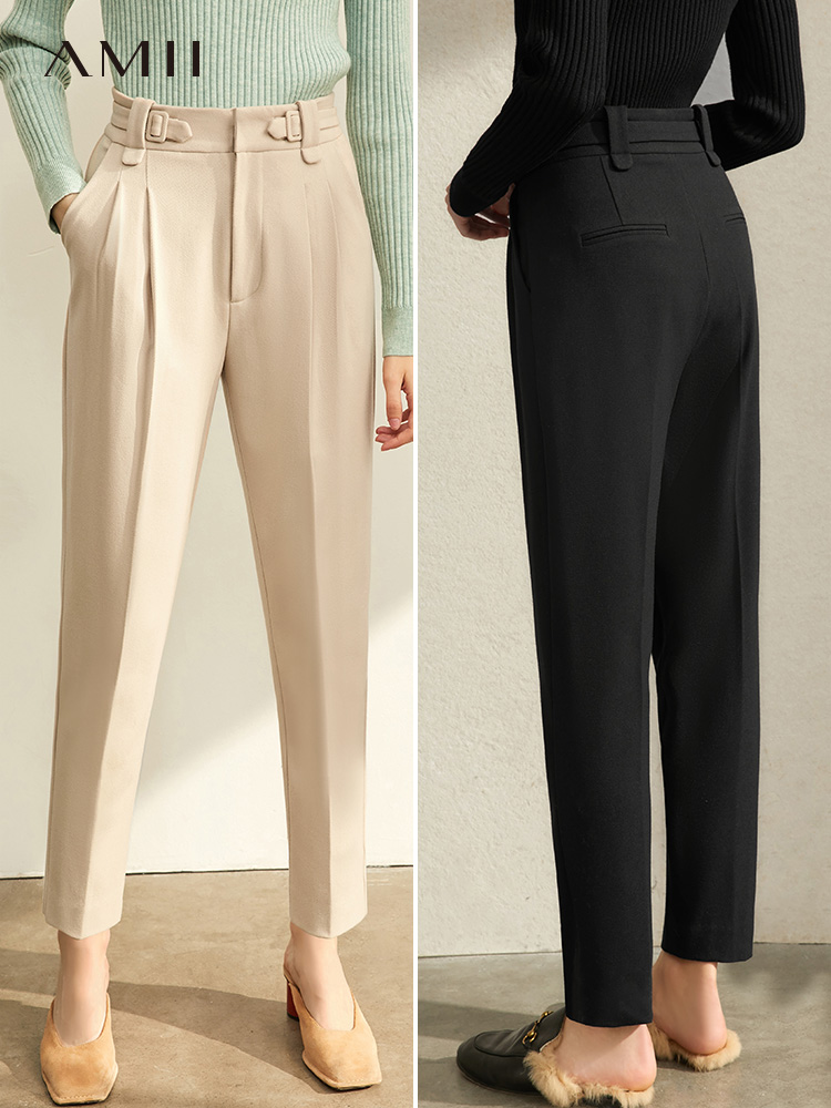 Amii Winter Women's Straight Pants Casual Office Lady Solid High Waist Loose Pants 11930245