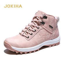 2020 Winter Outdoor Plush Warm Snow Boots For Women PU Leather Waterproof Snow Shoes Pink Fashion Ankle Boots Woman Big Size 42