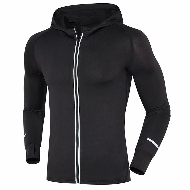 Men Running T Shirts Long Sleeves Outdoor Basketball soccer Training fitness Jersey zipper Breathable Jacket Sports Clothing