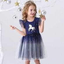Dxton — Robe de princesse pour fille, tenue d'été, vêtement à bretelles volantées avec dessin de licorne pour enfant de 3 à 8 ans, nouvelle collection, 2020
