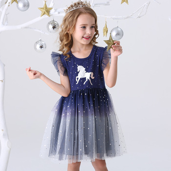DXTON Girls Clothes 2020 New Summer Princess Dresses Flying Sleeve Kids Dress Unicorn Party Girls Dresses Children Clothing 3-8Y vikita hooded dresses for girl clothes cotton christmas princess dress unicorn kids dresses children clothing girls autumn dress