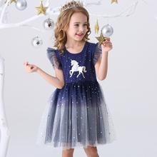 DXTON Girls Clothes 2020 nowe letnie sukienki księżniczki latający rękaw dzieci sukienka impreza jednorożec dziewczyny sukienki odzież dziecięca 3-8Y tanie tanio Woal COTTON CN (pochodzenie) Kolan O-neck REGULAR Bez rękawów Śliczne Pasuje prawda na wymiar weź swój normalny rozmiar