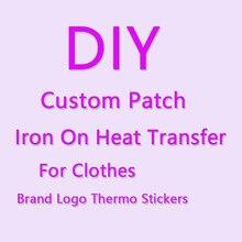 Autocollants thermo-adhésifs personnalisés de petite taille pour transferts de vêtements, patch de logo de marque, badge à rayures