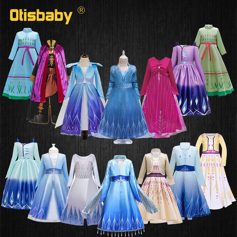 Girls Elsa Dress Snow Queen 2 Halloween Carnival Princess Costume Child Elza Anna Dress Up Fantasia Infantil Party Fancy Dress