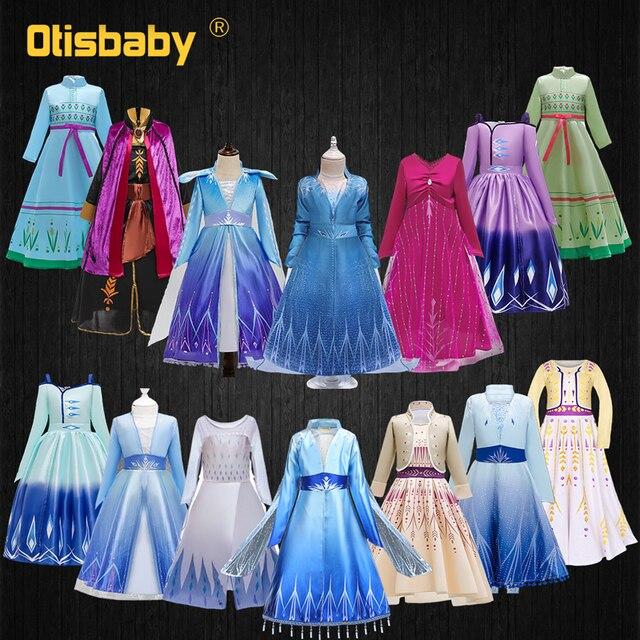 Vestido para niñas Elsa Snow Queen 2 Halloween carnaval princesa disfraz Infantil Elza Anna vestir fantasía Infantil fiesta vestido de fantasía