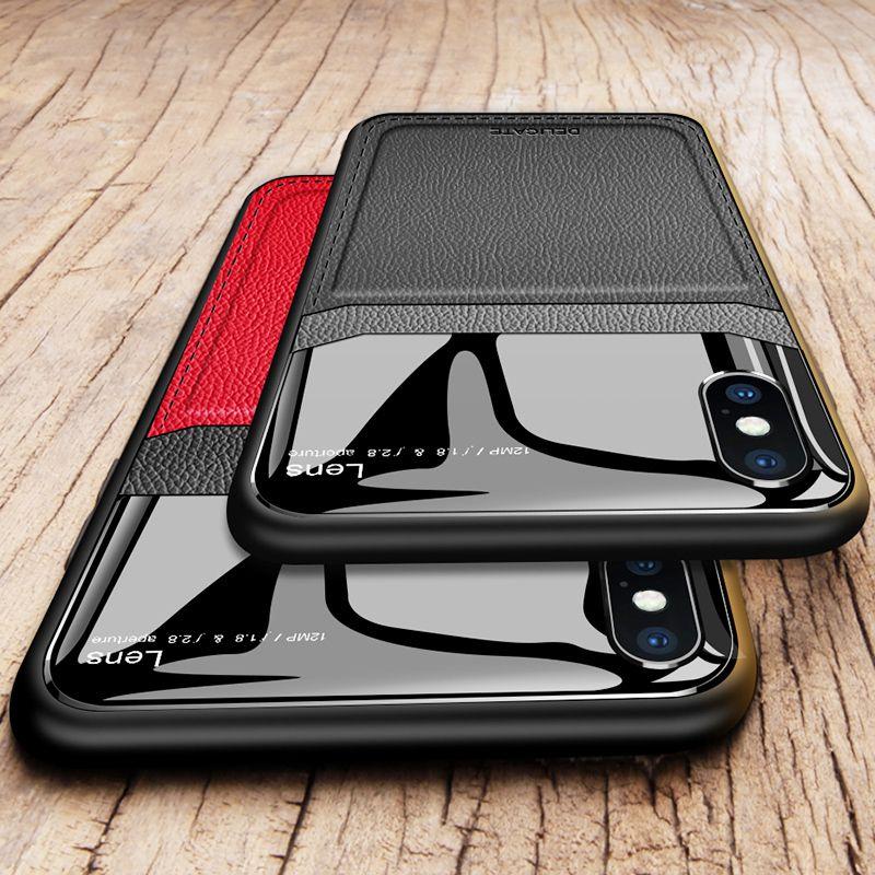 Leather Case For Iphone X Xr  7 8 7plus Plus Pu Anti Fall Xsmax Tpu Luxury Glass Mirror