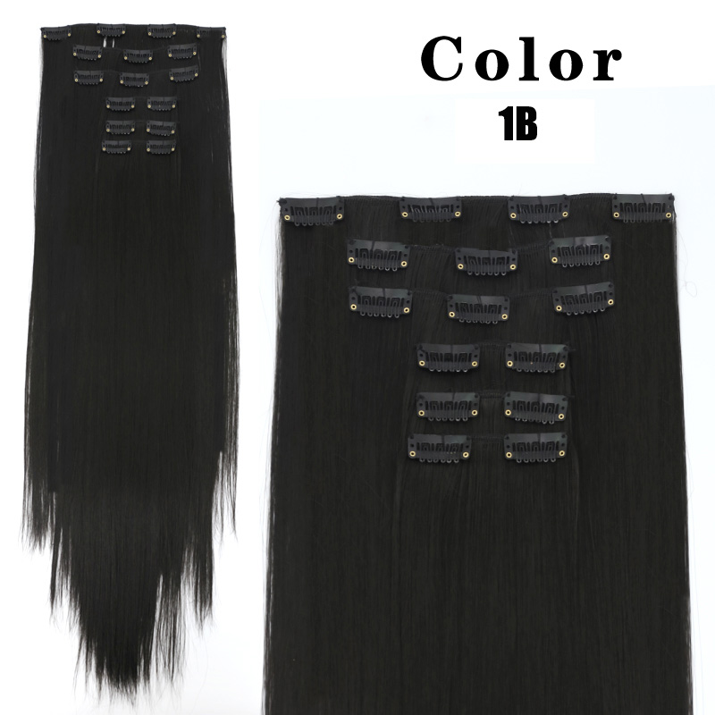 WEILAI 16 clips Long Straight Synthetic Hair Extensions Clips in High Temperature Fiber Black Brown Hairpiece