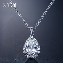 ZAKOL Trendy Water Drop Zircon Chain Pendant Necklaces Sparkling Tear Zirconia Crystal Wedding Jewelry For Women FSNP3002