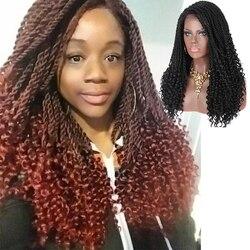 Pelucas trenzadas Kalyss de 20 pulgadas, peluca sintética Ombre, peluca trenzada frontal de encaje, peluca trenzada para mujeres negras, caja trenzada, peluca de encaje para bebés
