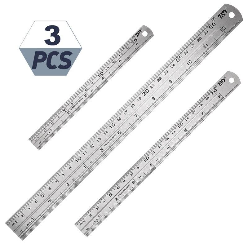 3 pces régua de aço ferramenta de desenho acessório 15/20/30cm régua de metal de aço inoxidável métrica regra ferramenta de medição de precisão|Réguas|   -