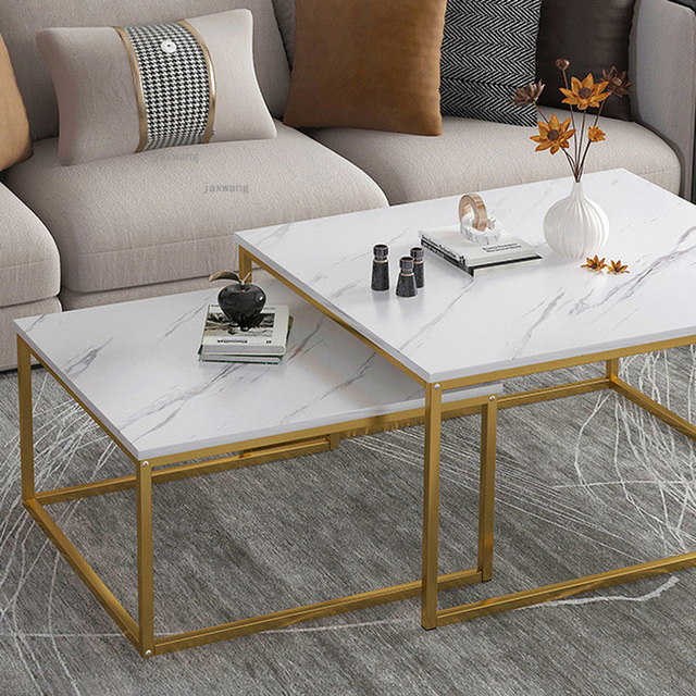 Marble Squared Coffee Table Comb Set 4