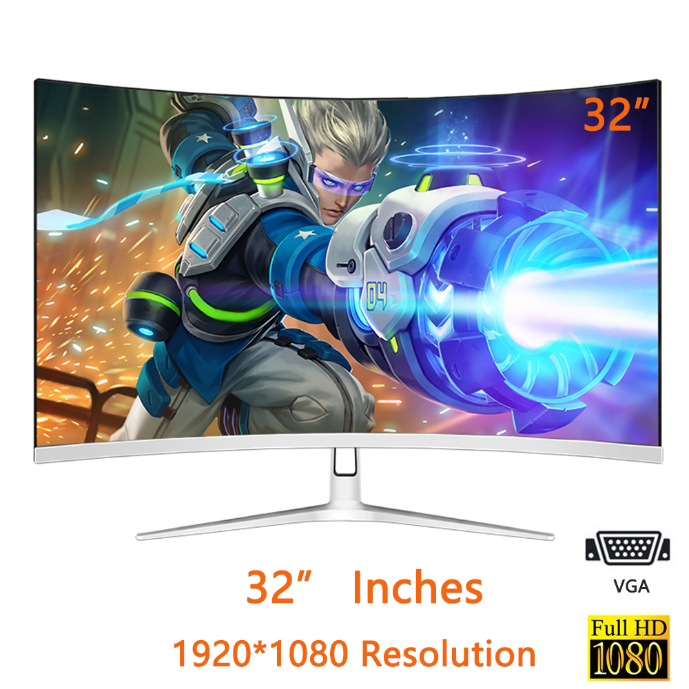 32-inch IPS 1920 * 1080-pixel HD 1080P LED Display 32-inch Game Contest Curved Widescreen 16:9 VGA / HDMI Display