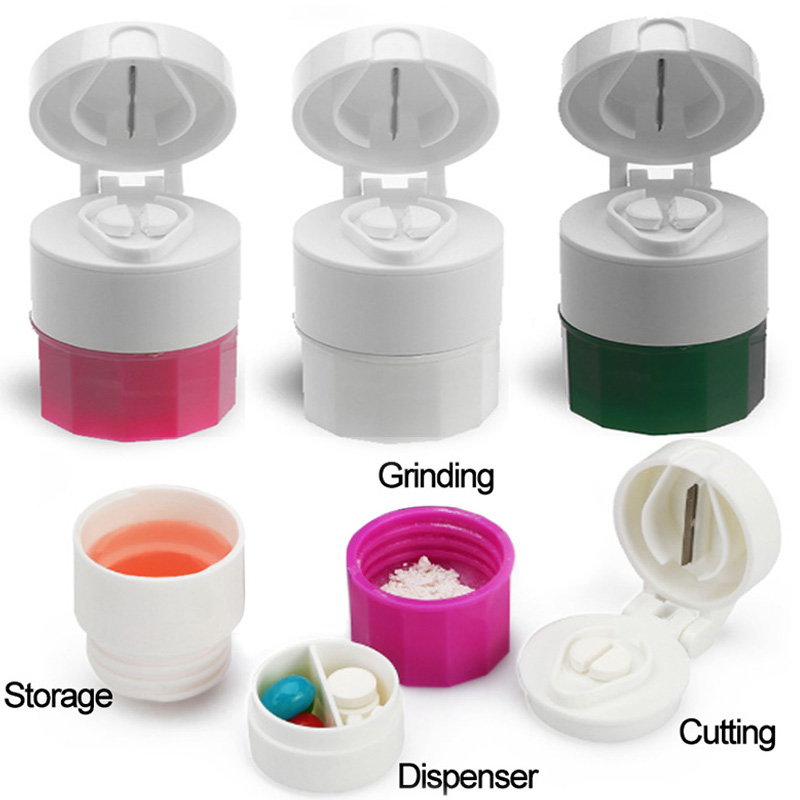 Medicine Box 4 Layer Pill Cutting Tablets Crusher Grinder Splitter Tablet Cutter Divider Storage Pill Container Multifunction