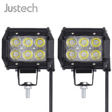 Justech 2x 18W LED Work Light Bar Spot 6pcs 3W Chips For Jeep Pickup Offroad SUV ATV Vehicle Car Flush Mounting Light Lamp(China)