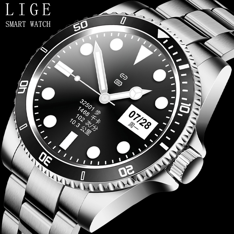 LIGE New Men Smart watch with LED Full touch screen For Android IOS heart rate Blood pressure monitor waterproof Fitness watch
