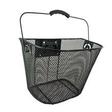 Detachable Front Handlebar Bicycle Basket Outdoor Cycling Holder Storage Basket Bike Iron Made Basket(Black) sunlite steel racktop rear basket black