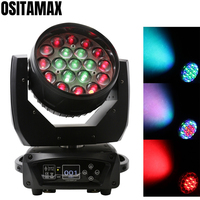 Moving head 19x15w zoom wash led stage pro wash effect lighting dmx disco bar professional lightings rgbw 4in1 rgbw ring