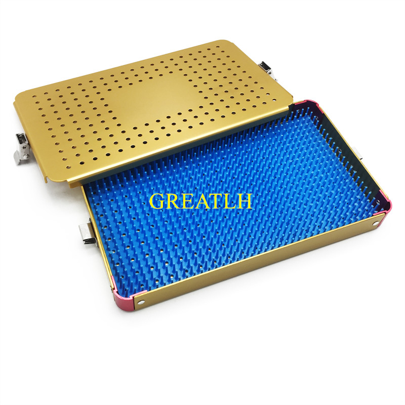 155mm*85mm*19mm Small Sterilization Tray Case Box With Silicone Mat  For Opthalmic Surgical Dental Instrument Holder