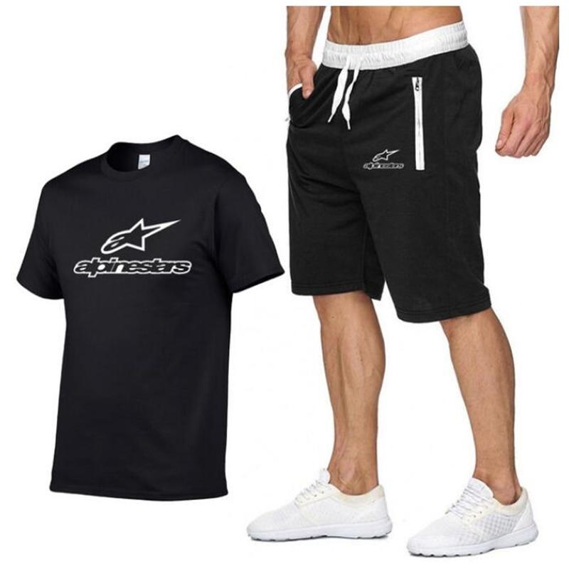 2020 Fashion Alpinestars T-shirt Shorts Set Men Summer 2pc Tracksuit+Shorts Sets Beach Mens Casual Tee Shirts Set Sportswears