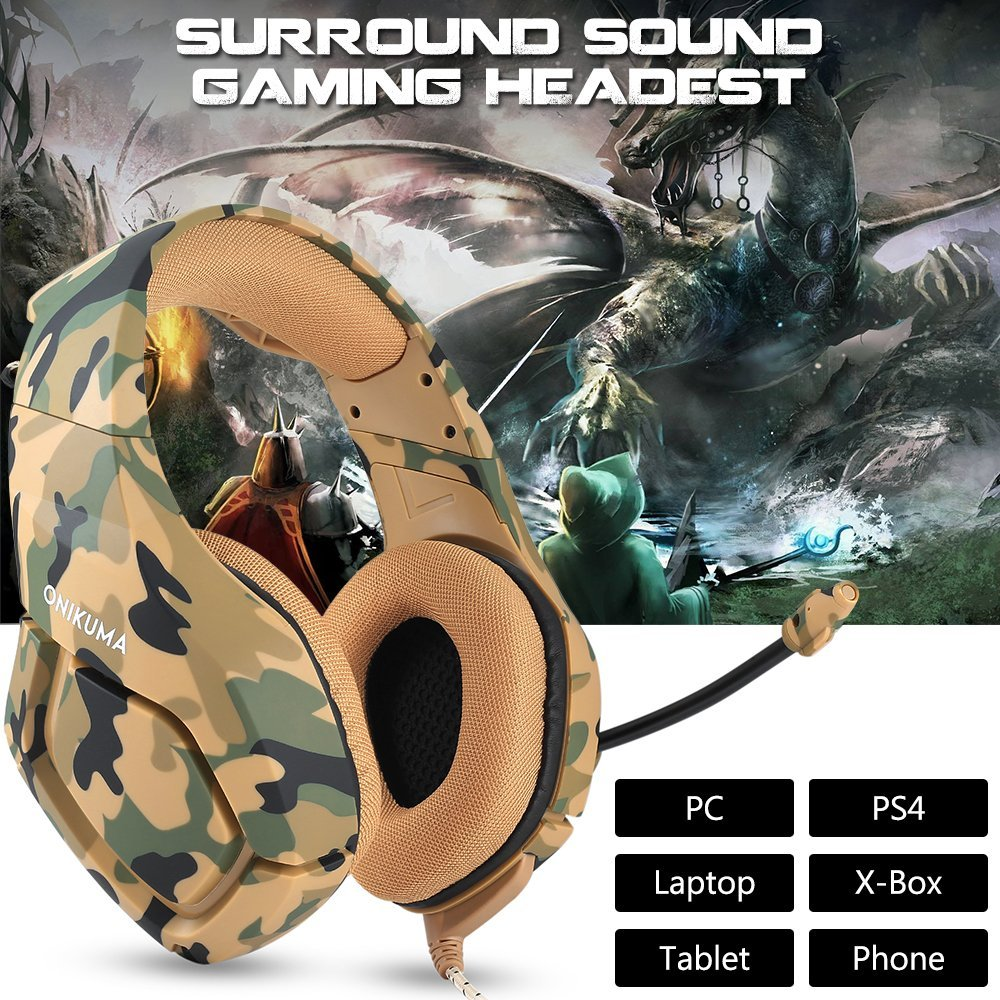 ONIKUMA K1 Camouflage PS4 Headset Bass Gaming Headphones Game Earphones Casque with Mic for PC Mobile Phone New Xbox One Tablet 2