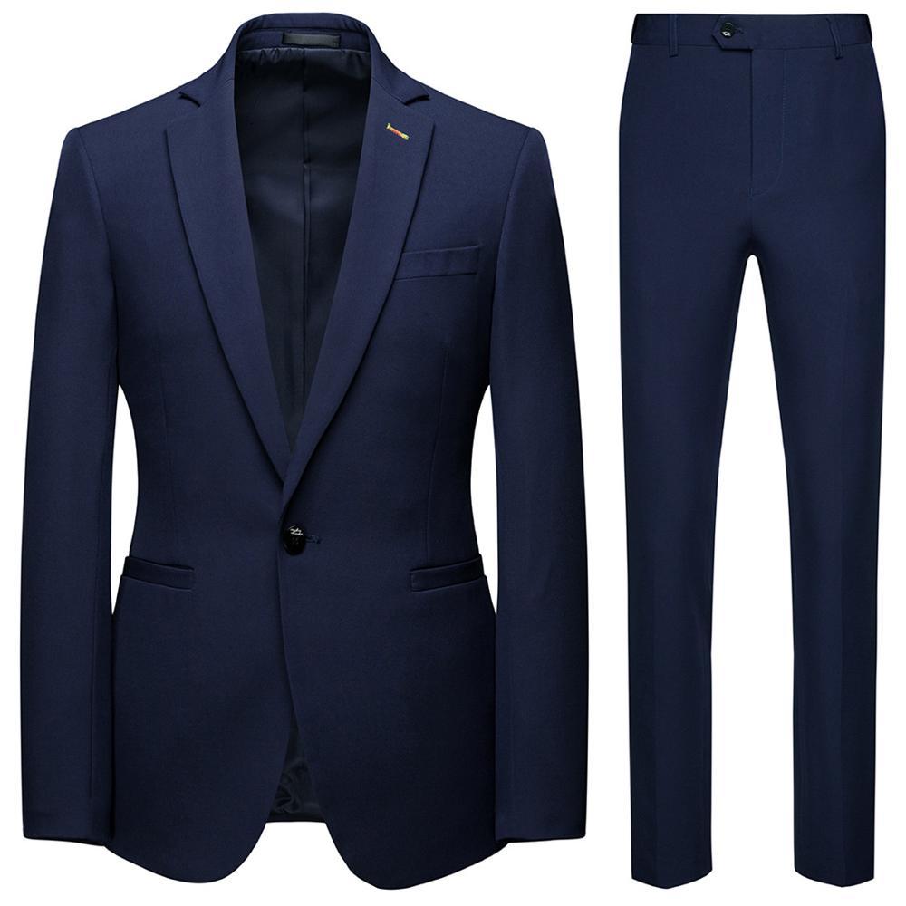 Men Suits For Wedding 3-color Male Blazers And Suit Trousers Pure Color Men Sets
