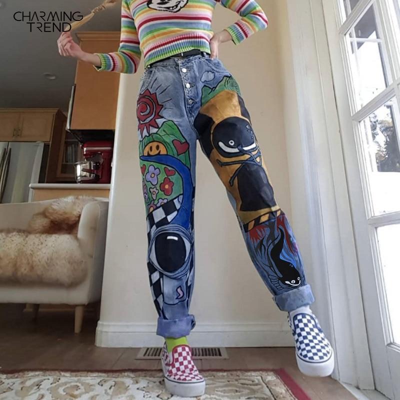 Женские джинсы с мультяшным принтом, весенние женские повседневные брюки, Длинные однобортные винтажные женские джинсы с высокой талией, 2020 Джинсы      АлиЭкспресс