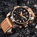 2020 novo esporte masculino à prova dwaterproof água marrom masculino relógios de topo marca de luxo casual couro quartzo relógio lige relogio masculino
