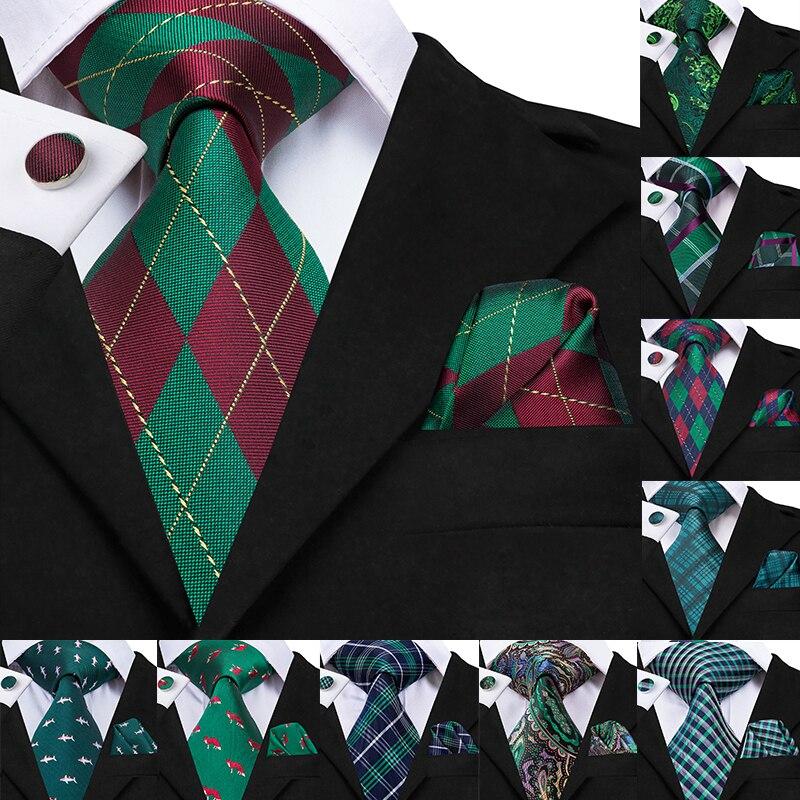 Hi-Tie Green Print Hanky Cufflinks Set Christmas Silk Ties For Men Gifts For Men Jacquard Gravatas Men's Tie Party Large Necktie